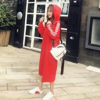 红色连衣裙2018早秋季女装新款长袖休闲chic长款过膝打底卫衣裙子 红色 S