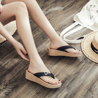 高跟人字拖鞋女夏平底海边外穿坡跟厚底网红增高凉拖沙滩鞋女户外