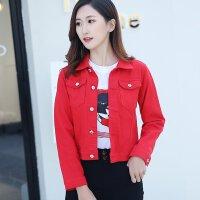红色牛仔外套女春秋季修身显瘦上衣女士韩版短款百搭夹克小外套潮