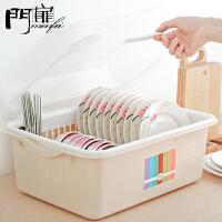 门扉 收纳盒 碗柜塑料带盖箱餐具沥水架厨房置物架碗筷收纳盒放碗架碗碟架盘子创意厨房用品 碗架