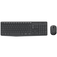 【支持当当礼卡】罗技MK235 键鼠套装 无线键鼠套装 办公键鼠套装 全尺寸 黑灰色 带无线2.4G接收器