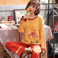 南极人家居服女士纯棉休闲吸湿透气柔软舒适时尚长袖套装KH5437