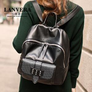 【支持礼品卡】LANVERA 欧美头层牛皮双肩包女包 2017新款真皮女士包包背包旅行包 L2030
