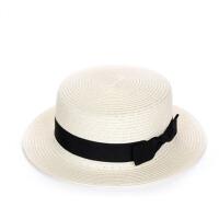 帽子夏天平沿小礼帽女遮阳草帽个性蝴蝶结沙滩帽太阳帽