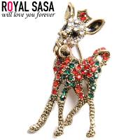 皇家莎莎RoyalSaSa 韩版流行时尚饰品 合金水晶圣诞节日胸针胸花 霓虹迷幻小鹿