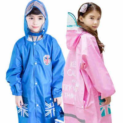 kocotree儿童雨衣男童带书包位女童雨衣幼儿园宝宝雨披小学生雨衣加厚带书包位 防水透气 安全反光条