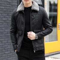 冬季加棉加厚皮夹克男冬装修身韩版帅气机车服潮外套男士皮衣男装