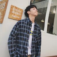 春装新品韩版宽松显瘦做旧格子印花长袖衬衣学生打底衫短外套男