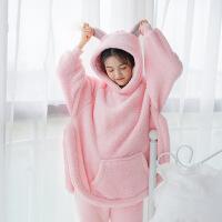 冬季睡衣女珊瑚绒甜美可爱熊耳朵加厚保暖韩版清新学生法兰绒套装