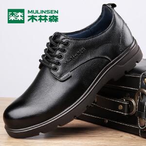 木林森男士大头皮鞋真皮套脚商务休闲鞋结婚鞋英伦潮流厚底男鞋77053304