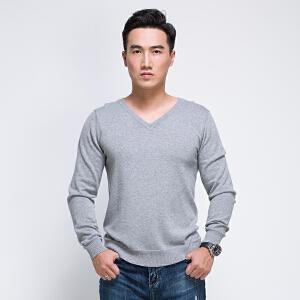 v领纯棉打底衫男士全织时代美式休闲纯色修身针织衫长袖t恤套头秋