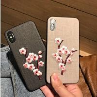 新款日韩刺绣梅花朵iPhone7 plus手机壳全包软硅胶苹果6S/8/X外壳 iPhone X黑色