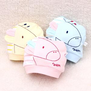 货到付款 Yinbeler婴儿帽子春秋夏 季 0-3月新生儿男女 宝宝胎帽薄款套头纯棉睡帽 婴儿帽子可爱耳朵卡通小马胎帽