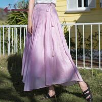生活在左2019夏季新款钩花婴儿棉半身裙女装宽松纯色仙女长裙子
