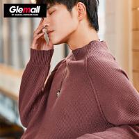 森马潮牌GLEMALL 半高领毛衣男时尚复古纯色简约百搭套头针织衫打底衫