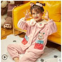 冬季女童珊瑚�q加厚款中大童公主小女孩秋冬家居服�和�法�m�q睡衣