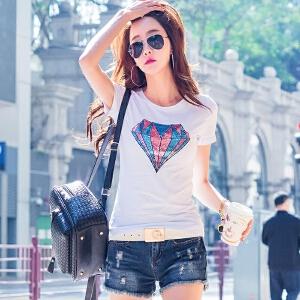 夏季短袖T恤女韩版修身半袖T��上衣时尚百搭打底衫白色体恤棉小衫ZY3832