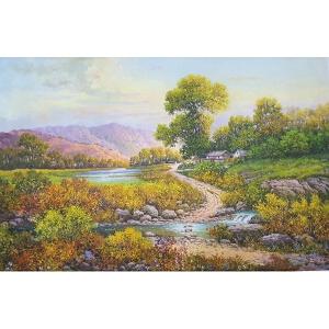 朝鲜油画 一级画家 安恩成《家乡》【大千艺术品】