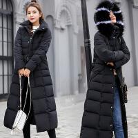 反季女2018新款冬季长款韩版宽松时尚羽绒棉修身过膝棉袄外套 黑色 M