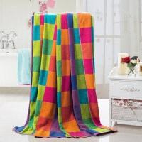 加厚双人毛巾被纯棉老式毛毯被子加大180*210 彩色方格 180cm*210cm