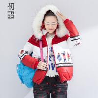 【品牌盛典 2件5折】初语冬季新款 撞色连帽毛织拼接趣味棉衣棉服女8540822017