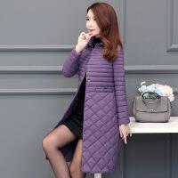 羽绒棉衣女装中长款2018新款韩版时尚轻薄过膝冬反季棉袄 紫色 M