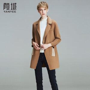 颜域品牌女装2017秋冬新款欧美简约翻领双排扣羊毛双面呢外套大衣