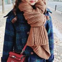 韩版围巾冬季纯色加长款粗毛线围巾女针织加厚百搭秋冬围脖男学生