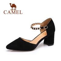 【每满200减100】camel骆驼女鞋 春夏新款 气质尖头百搭高跟女鞋女神粗跟单鞋