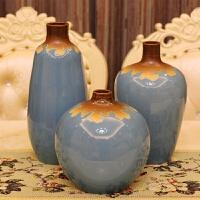 汝窑仿旧蓝3件套彩釉花瓶景德镇陶瓷花器客厅装饰工艺品摆件