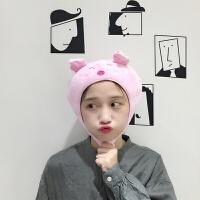 韩国ins卡通创意网红卖萌自拍帽子头套日系学生可爱粉小猪头套女 短款(粉小猪头套) 可调节