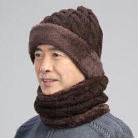 中老年人帽子男护耳毛线帽围脖两件套冬天老人保暖帽