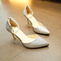 【】高跟鞋女尖头中空一字扣细跟单鞋2019款婚鞋女凉鞋
