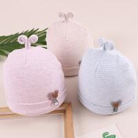 婴儿帽子 秋冬0-3个月胎帽纯棉加厚男女宝套头帽 夹棉 秋潮