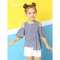 【满150减70】安奈儿童装女童短袖衬衣2018夏季新款圆领短袖上衣EG821286