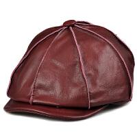 男士八角真皮帽秋冬女士通用帽鸭舌帽体闲