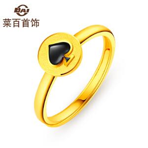 菜百首饰黄金戒指时尚烤彩系列个性黑桃红桃足金戒指