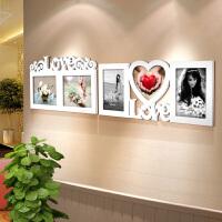 御目 照片墙 白色创意7寸8寸木质心形相框组合挂墙免费打印照片送女友礼品摆台