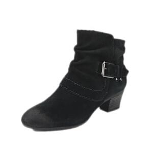 Clarks/其乐女鞋2017秋冬新款真皮低跟机车休闲短靴Melanie Jude专柜正品直邮