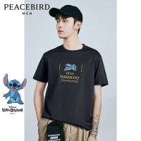 太平鸟男装 史迪奇系列圆领灰色短袖T恤印花卡通体恤韩版时尚短袖