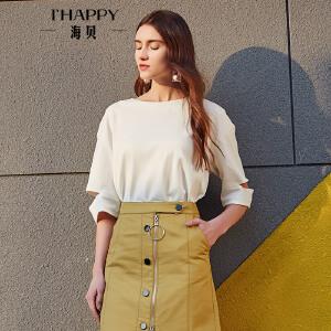 【街拍】海贝2017年秋季新款女装 简约纯色圆领纯棉个性破洞套头短袖T恤