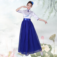 中国风青花瓷古典男女大合唱演出服长裙中学生朗诵合唱表演服