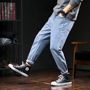 【2件3折价110.7元】唐狮牛仔裤男宽松哈伦牛仔长裤韩版潮流
