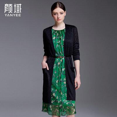 颜域品牌女装2018春夏新款欧美纯色中长款宽松轻薄针织开衫长外披