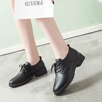 小皮鞋女英伦风2019春季新款韩版百搭中跟ins复古粗跟黑色单鞋女
