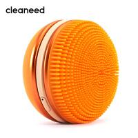 cleaneed 洁面仪 硅胶电动毛孔清洁去黑头美容按摩洗脸仪 深层净透 迪丽热巴同款 马卡龙系 香橙