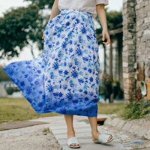 茵曼夏装新款蓝色花色褶皱摆纯亚麻半身裙中长裙【1872110248】