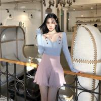 韩国复古风女神套装春秋款修身显瘦皮带拼接打底衫+高腰针织裤裙