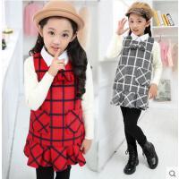 裙子 韩版童装 女童裙子 中大童加厚保暖背心裙 儿童公主格子裙子打底儿童裙 衬衫领裙