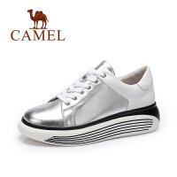 camel骆驼女鞋 春季新款 简约舒适休闲撞色女松糕厚底单鞋